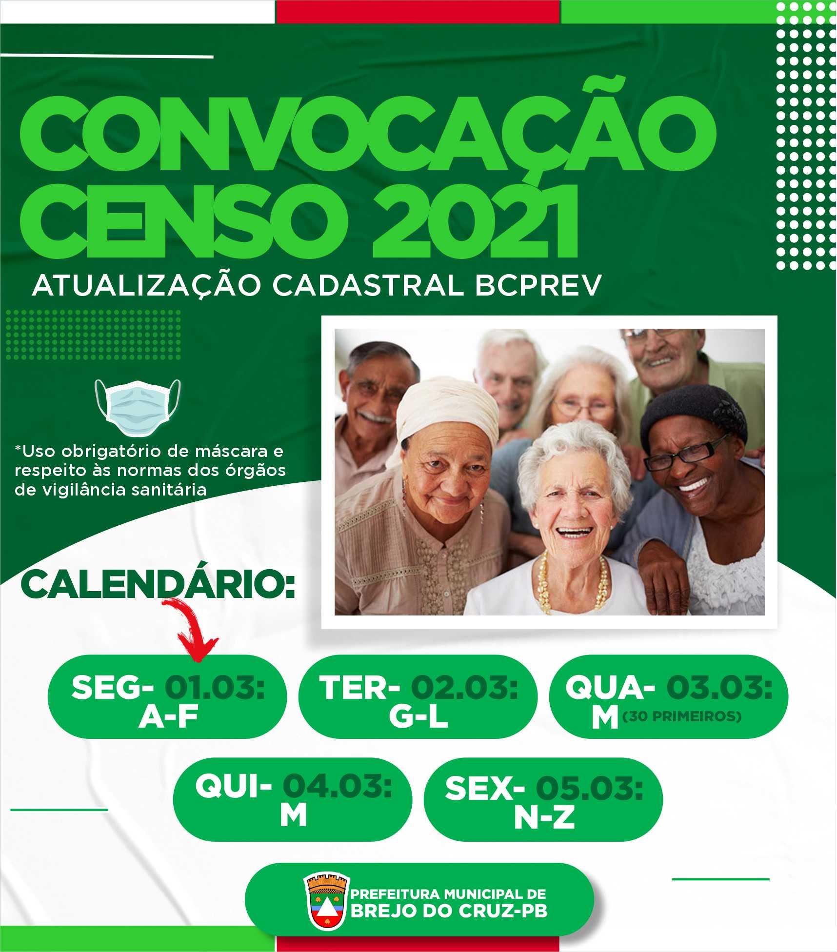 BCPREV convoca aposentados e pensionistas para CENSO 2021.