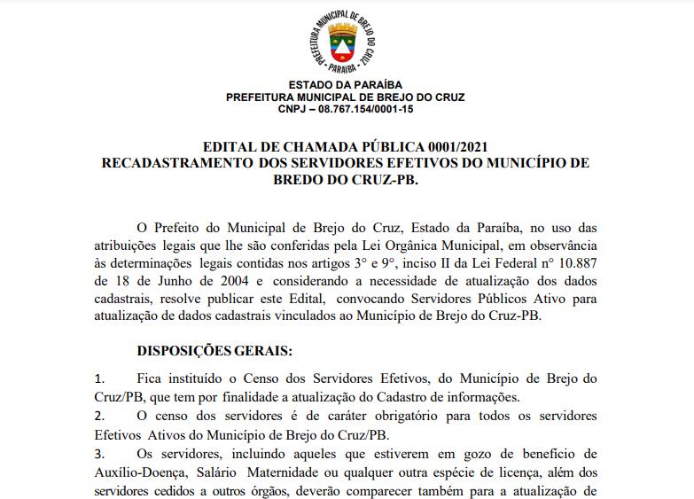 Convocação de Servidores Públicos Ativos para a atualização do cadastro vinculado ao Município.