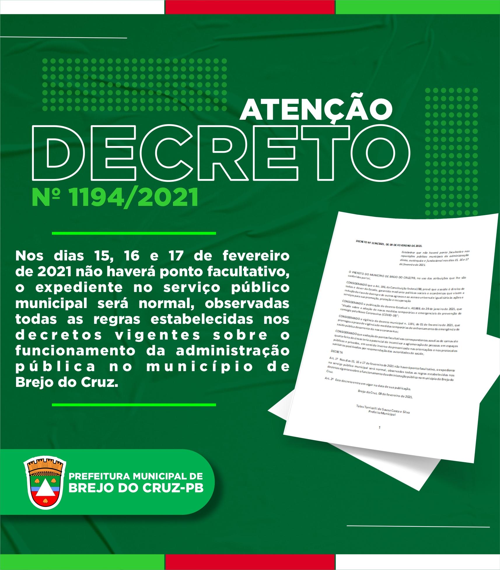 Nos dias 15, 16 e 17 de fevereiro de 2021 não haverá ponto facultativo em Brejo do Cruz