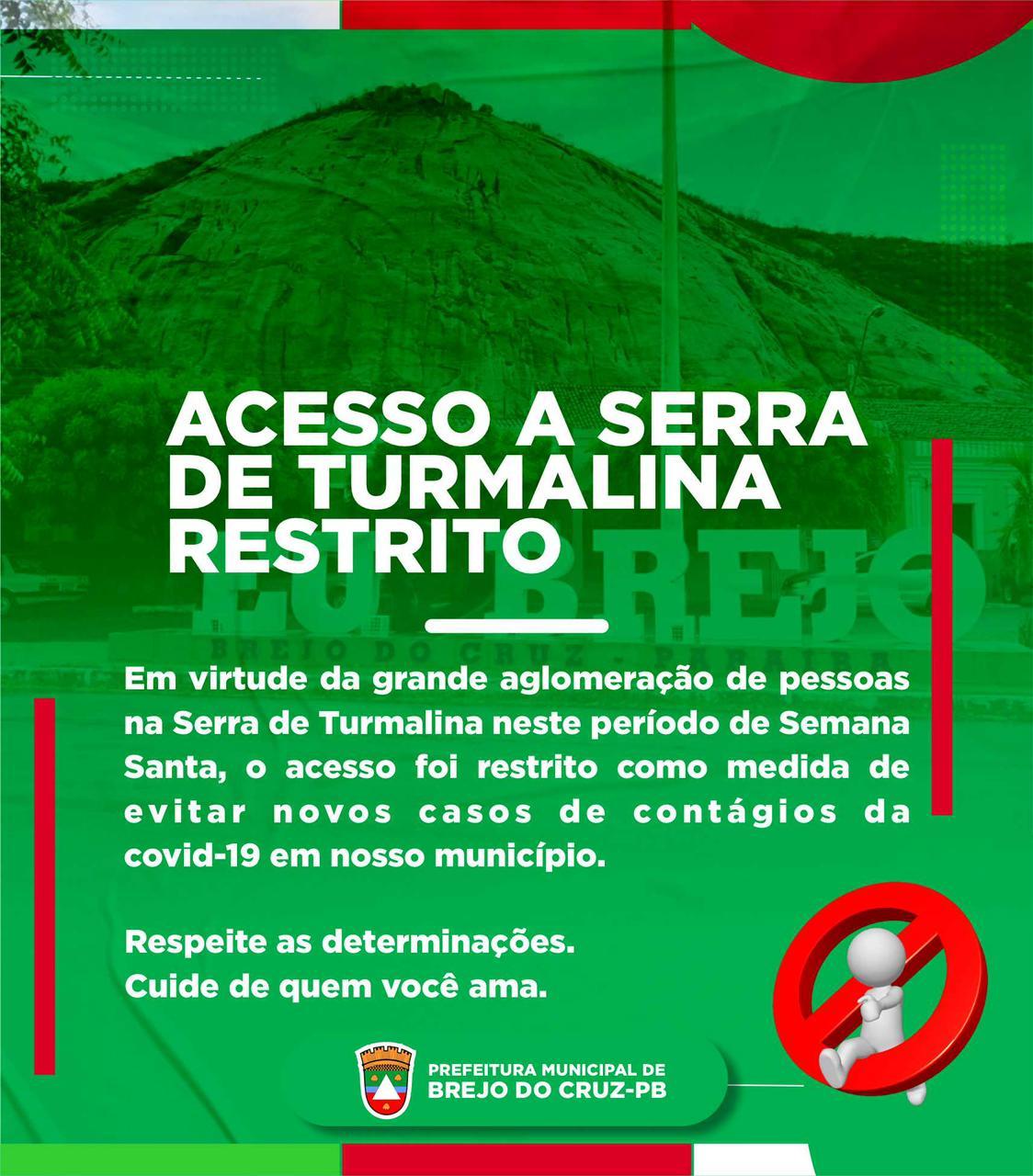 SUBIDA PROIBIDA! Prefeitura de Brejo do Cruz faz apelo para que não subam a Serra de Turmalina